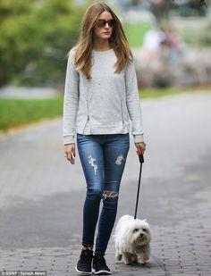 Olivia Palermo took Mr Butler for a walk in Brooklyn, New York.