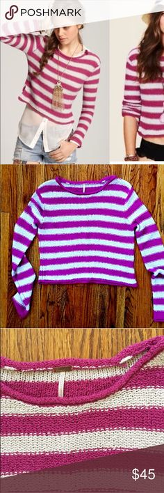 """FP Beach striped sweater Soft and cozy slightly cropped sweater from Free People Beach. No condition issues, worn once or twice. Purple-y pink stripes with light gray. Length from collar is about 20"""". Armpit to armpit flat is 19"""". Cotton/rayon. Free People Sweaters Crew & Scoop Necks"""