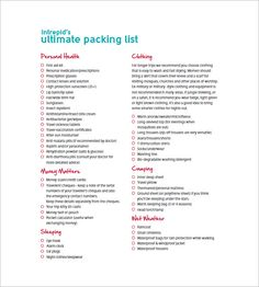 Vacation Packing List  Packing List Template With Several Common