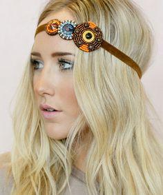 Brown Beaded Headband