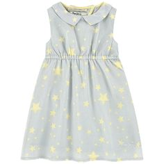 Cotton voile Fine cotton lining Dress: Light   Shirt collar Sleeveless Crossover back Buttons in the neck Elastic waistband Star print Embroidered brand - $ 75