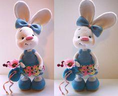 Pretty bunny amigurumi in dress - free crochet pattern, stuffed toy, #haken, gratis patroon (Engels), konijn, knuffel, speelgoed, #haakpatroon