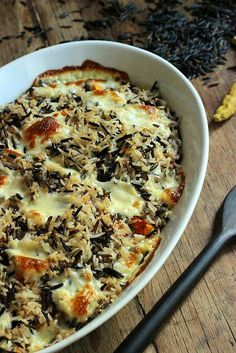 Roasted Butternut Squash with Spicy Wild Rice and Queso Fresco #SundaySupper: Vintage Kitchen Notes