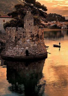 Nafpaktos during the evening, Greece.