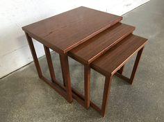 Vintage Danish Modern Solid Teak Nesting Tables (3) Peter Hvidt MCM Mid Century Modern Side Table End Table Accent Table
