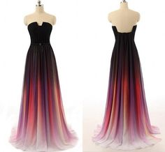 Hot Sales Ombre Chiffon U Neck Long Prom Dress , A Line Open Back Custom Made Colorized Ombre Evening Prom Dresses,BG54