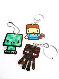 Minecraft - Key Chains - Enderman, Creeper, Steve by brokenbiscuits on Etsy https://www.etsy.com/listing/205274106/minecraft-key-chains-enderman-creeper
