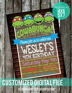 Ninja Turtles Invitation to invite your guests to your TMNT Party! This Retro TMNT Invitation  has matching party decor and favors in my shop!