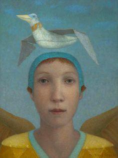 Marieloes Reek - Fly - 40 x 30 cm, Oil/wood, 2012 Magic Realism, Surrealism Painting, Woman Art, Birds 2, Gods And Goddesses, The Guardian, Digital Image, Female Art, Figurative