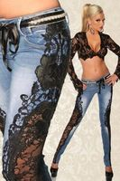 Handmade Woman Jeans Lace New high Quality