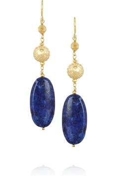 Gold Vermeil and Lapis Lazuli Pendent Earrings by Chan Luu