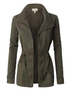 Womens Military Anorak Jacket with Drawstring Waist