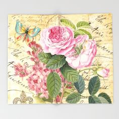 #vintage #nature #watercolor #colorful #flowers #floral #woman #girly #pretty #shabby #spring #summer available in different #homedecor products. Check more at society6.com/julianarw #throwblanket