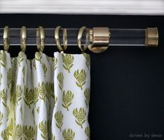 Acrylic drapery rod with gold hardware