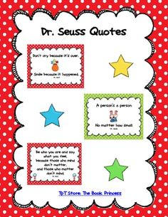 Freebie: Three quotes by Dr. Seuss to brighten your room.  Enjoy!...