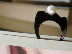 Skyline black acrylic ring with Pearl by Aubeebop jewellery.