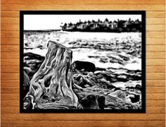 Black and white photography digital download printable - stump melding into lava field, sitting next to the ocean. Hawaii decor that looks fabulous anytime, anywhere. Made by Gia - $10.00