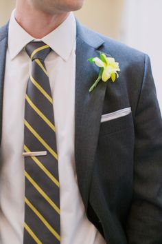 Gray and Yellow Groomsmen Attire