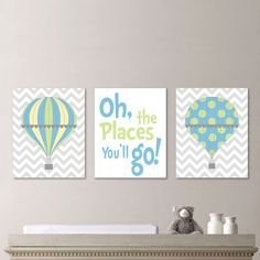 *** You Pick the Size! *** Please select upon check out!    Hot Air Balloon Nursery Print  This is a three-print set, featuring two prints of