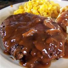 Salisbury Steak. This is the best tasting salisbury steak sauce I've ever had and it reheated SO easily the next day! I threw some onions and mushrooms on top as a garnish.