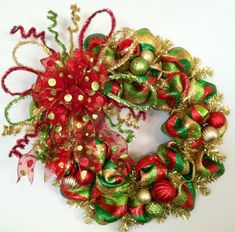 Whimsical, Red, Green, Gold & Lime Green, Striped, Polka Dot, Holiday, Deco Mesh Christmas Wreath on Etsy, $65.00