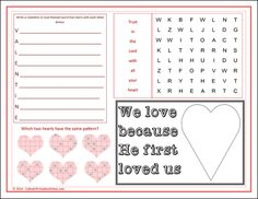 St. Valentine's Day Activity Page featuring four different activities for kids. This can double as a St. Valentine's Day Activity placemat.