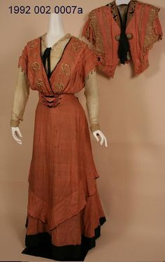 Women's Salmon Colored Shantung Afternoon Dress With Short Sleeved Jacket, Made By G. Giuseffi Ladies Tailoring Co. (1902-1912) Missouri History Museum. collections.mohistory.org. #fashionhistory #1900sstyle