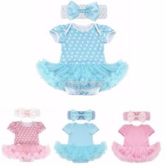Baby Body Strampler Mädchen Set Body mit Tutu Stirnband 2tlg. Baby Kleidung 0-9M
