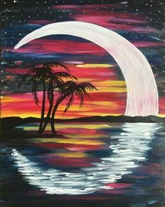 Cool crescent moon tropical painting Beginner painting idea Tommy T s Comedy Steakhouse 02 23 2015 Cool crescent moon tropical painting Beginner painting idea Tommy T s Comedy Steakhouse 02 23 2015 Jenny diybastlerin Beautiful pictures for beginners moon Easy Canvas Painting, Moon Painting, Diy Painting, Canvas Art, Painting Abstract, Sunset Acrylic Painting, Acrylic Art Paintings, Canvas Painting Tutorials, Space Painting