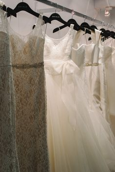 Racks of Nouvelle Amsale Wedding gowns. Lace, tulle, silk organza and fitted mikado. Unique Wedding Gowns, Wedding Attire, Unique Weddings, Wedding Dresses, Ivy And Aster, Divine Light, Silk Organza, Yes To The Dress, Southern Weddings