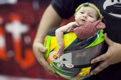 In Her Daddy Dirt Track Helmet - Or maybe her Daddy's Fire Helmet??