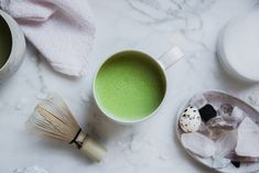 a quick & easy super healthy vegan coconut matcha latte recipe made with coconut milk, the perfect, creamy herbal morning potion that's as great iced as it is hot