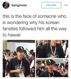It looks like amber is behind him so this is probably from when had the smtown concert there, which means fans probably knew where they'd be so they wanted to take pictures Exo Ot12, Chanbaek, Park Chanyeol, Baekhyun, Taemin, Shinee, Exo Memes, Bts And Exo, Humor