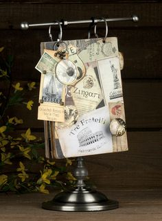 7gypsies Recipe Book on Photo Display Stand - featuring Epicurean Collection - flip the pages of your recipes in vintage style.