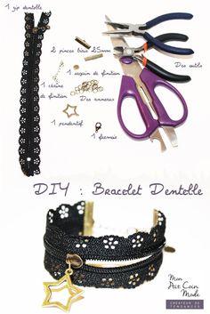 DIY - tutoriel bracelet zip dentelle