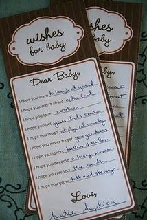 perfect for a baby shower - guests write notes to the baby and the child reads it when they turn 10