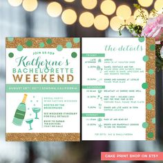 Bachelorette Printable Itinerary Invite With Mint And Gold Hens Party