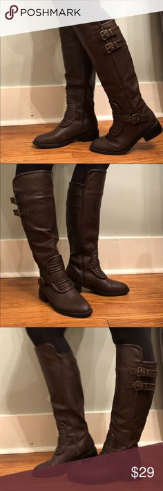 """Tall Brown Boots with Buckles from Nordstrom Jacobies brand from Nordstrom, size 9. Dark brown with inside zipper and 1"""" heel. Worn once. No scratches or signs of wear. Rubber soles. Calf circumference is 16"""".   Happy to bundle, I will promptly answer any questions :) Follow me to see new items.   Clean, non smoking home. Jacobies Shoes Winter & Rain Boots"""