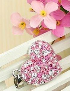Pink Heart USB Flash Drive with Necklace