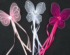 10 Tinkerbell wand Party Favors Green Butterfly by LittleLadyLilys
