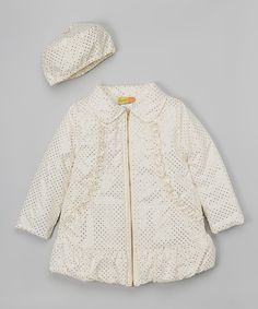 This White Dot Swing Coat & Beret - Infant & Girls by Penelope Mack is perfect! #zulilyfinds