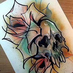 тату эскиз череп роза