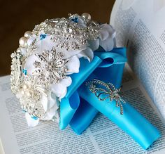 Vintage Bridal Brooch Bouquet  Pearl Rhinestone by LXdesigns, $72.00