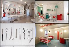 The in-store visual merchandising of the Hospitalis Restaurant in Riga, Latvia, is decorated as an hospital. Waitresses are dressed like nurses and bartenders are wearing lab coats. Meals are eaten with surgical utensils and served in stainless steel dishes. As for drinks, there are served in medical beakers and test tubes. All medical-related accessories have been supplied by real hospitals and Latvia's Museum of the History of Medicine.