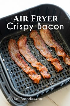 Crispy Air Fryer Bacon Easy and Quick. How to cook bacon in air fryer? It's easy to make air fried bacon that's crispy and super easy with convection oven Bacon Recipes Low Carb, Air Fry Recipes, Gourmet Recipes, Healthy Recipes, Sausage Recipes, Pork Recipes, Crispy Bacon Recipe, Air Fry Bacon, Bacon Wrapped Hotdogs
