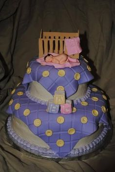 """Baby Shower I thought the """"baby blanket"""" fondant would be cute on a shower cake."""