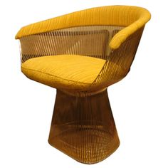 Vintage small armchair in nickel finish designed by Warren Platner for Knoll. USA, Circa 1970.