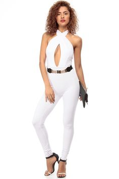 White Halter Neck Belted Body Con Jumpsuit @ Cicihot sexy dresses,sexy dress,prom dress,summer dress,spring dress,prom gowns,teens dresses,sexy party wear,ball dresses