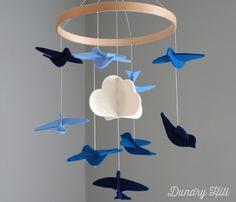 Blue Birds Felt Mobile
