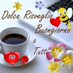 Buongiorno immagini nuove caffè nuove Good Morning, Birthdays, Tableware, Emoji, Holidays, Humor, Instagram, Frases, Pink